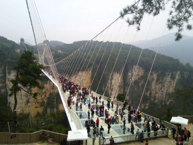 中国 湖南省 張家界大峡谷 ガラスの吊り橋  China Hunan Zhangjiajie Valley Glass Bridge
