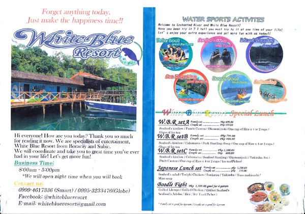 フィリピン エンチャンテッド・リバー Philippines Enchanted River White Blue Resort Menu